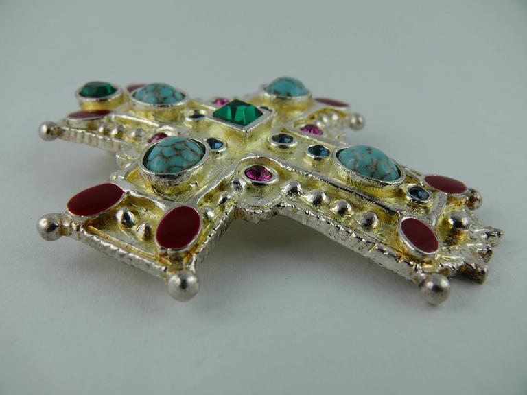 Christian Lacroix Vintage Rare Massive Jewelled Cross Brooch Pendant 3
