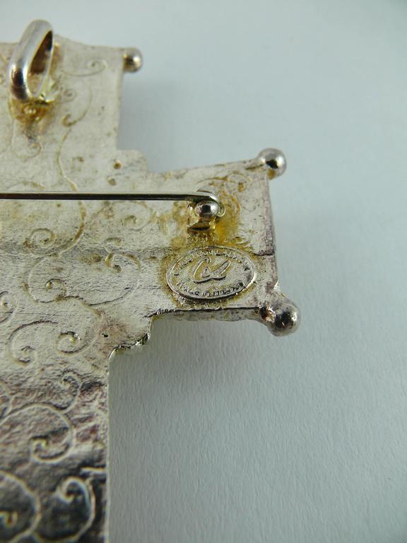 Christian Lacroix Vintage Rare Massive Jewelled Cross Brooch Pendant 6