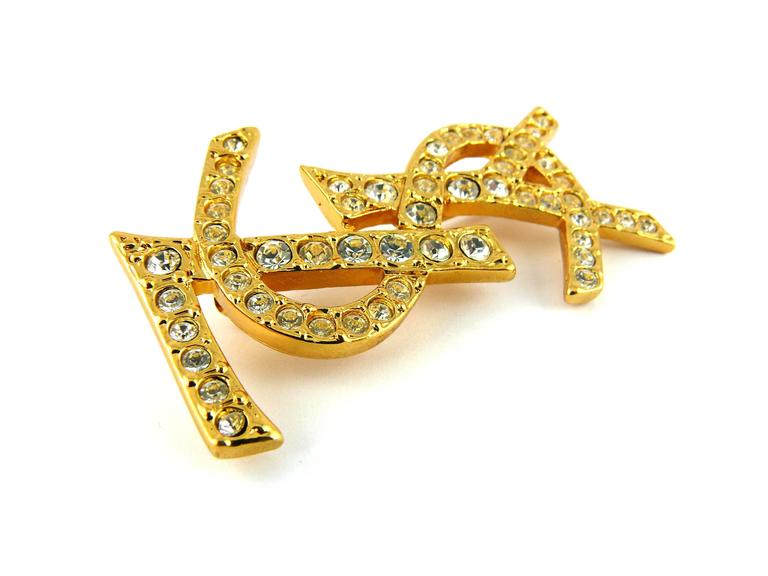 Yves Saint Laurent YSL Massive Diamante Logo Brooch In Excellent Condition In Nice, FR