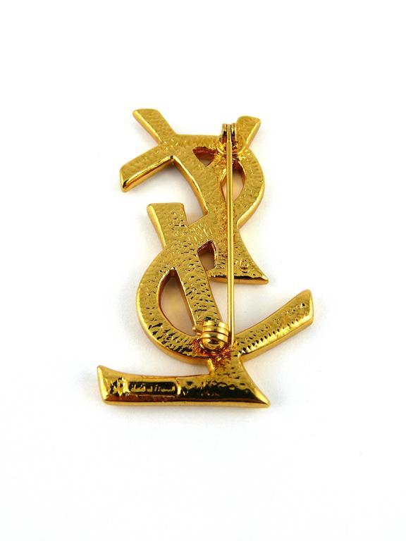 Women's or Men's Yves Saint Laurent YSL Massive Diamante Logo Brooch