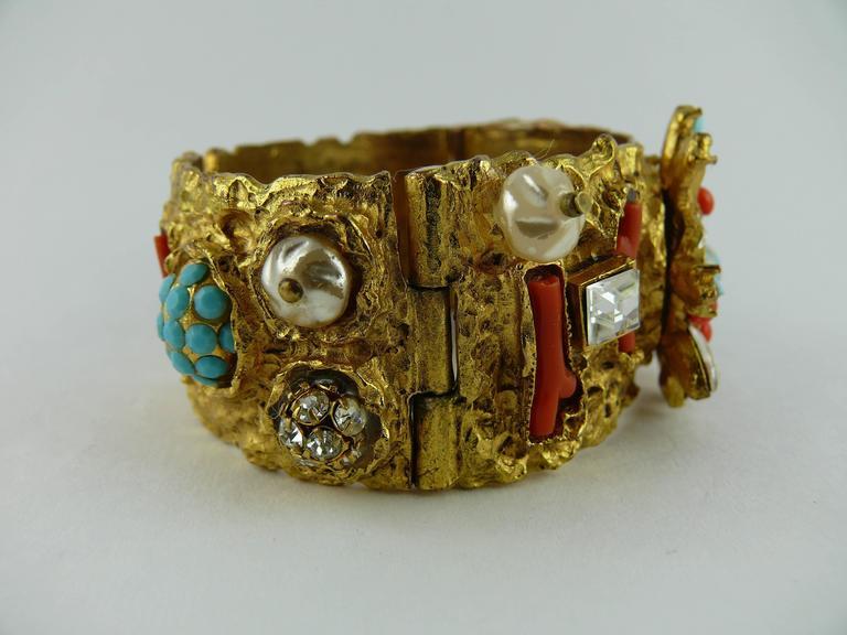 Christian Lacroix Vintage Opulent Jewelled Clamper Bracelet Turquoise Coral 3