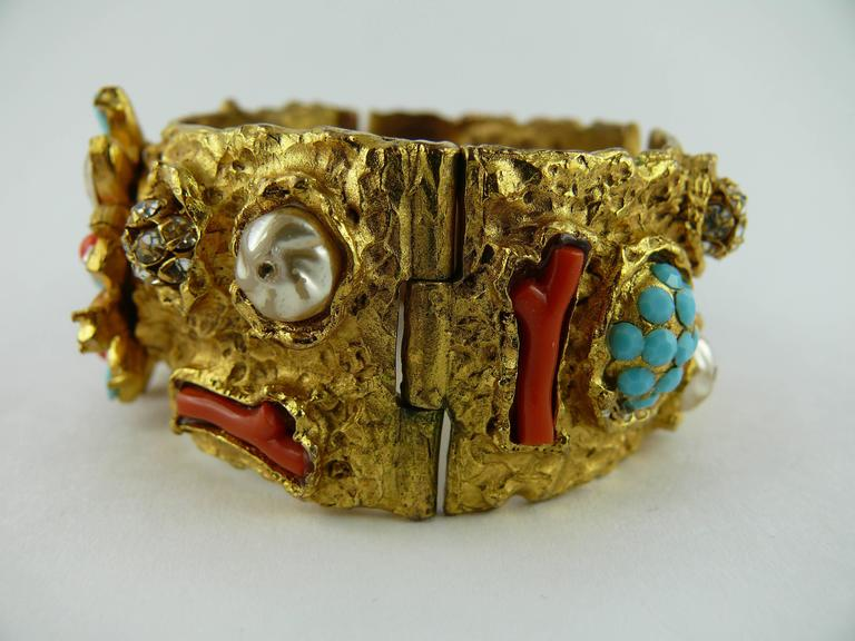 Christian Lacroix Vintage Opulent Jewelled Clamper Bracelet Turquoise Coral 4