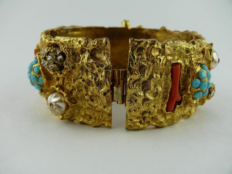 Christian Lacroix Vintage Opulent Jewelled Clamper Bracelet Turquoise Coral For Sale 1