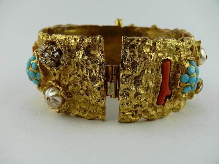 Christian Lacroix Vintage Opulent Jewelled Clamper Bracelet Turquoise Coral 5