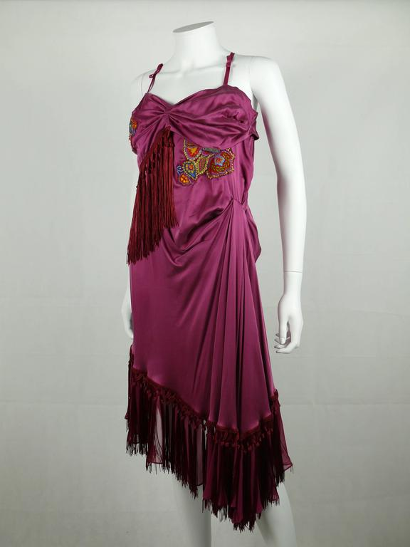 John Galliano Bias Cut Silk Cocktail Dress In Excellent Condition For Sale In French Riviera, Nice
