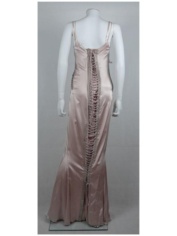 Dolce & Gabbana Runway Nude Lace Up Gown Dress Spring/Summer 2003 For Sale 1