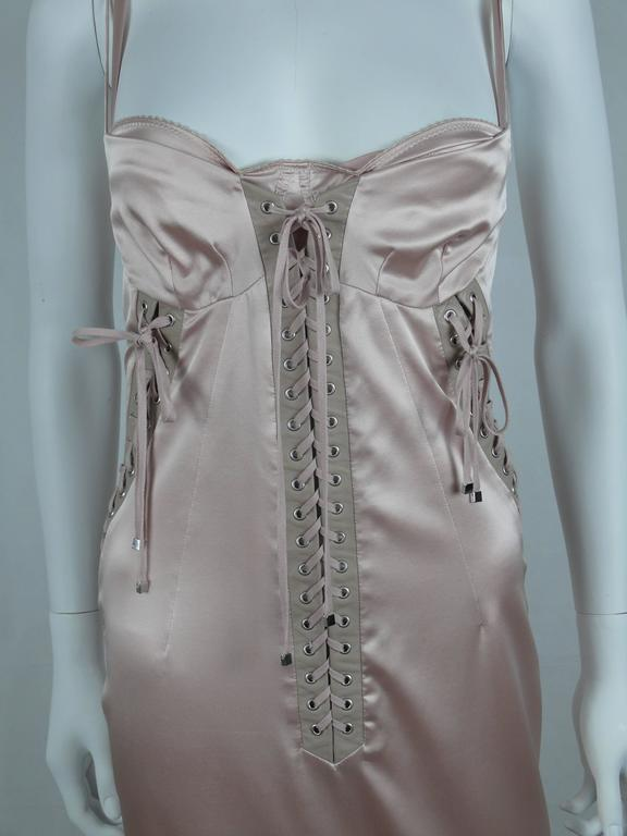 Gray Dolce & Gabbana Runway Nude Lace Up Gown Dress Spring/Summer 2003 For Sale
