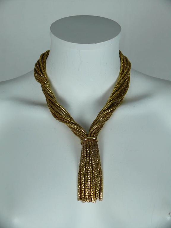 Christian Dior Vintage Gold Toned Multi Chain Tassel Necklace 1967 2