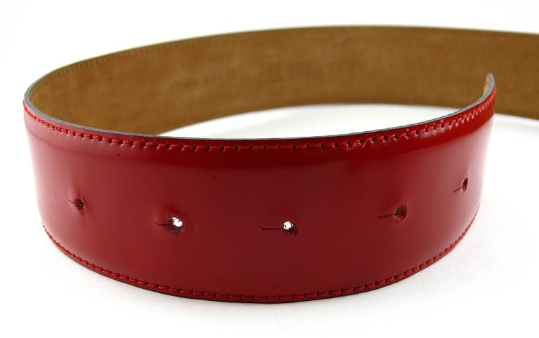 Moschino by Redwall Vintage Red Patent Leather Heart Love Belt For Sale 1