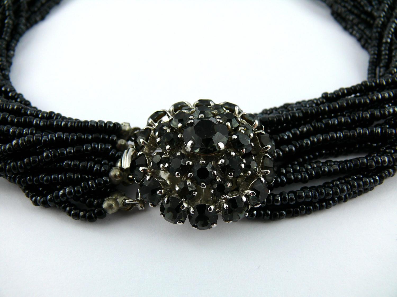 Christian Dior 1965 Multistrand Black Bead and Rhinestone ...