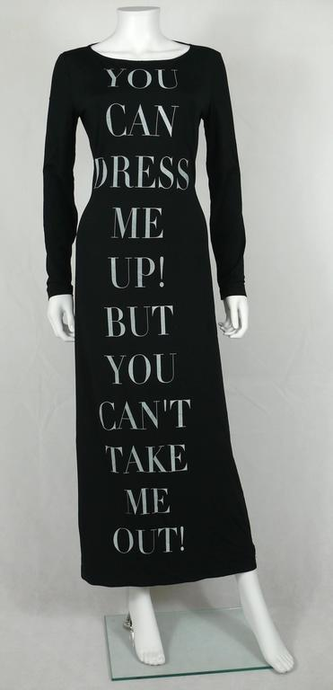 "Moschino Vintage Iconic ""You Can Dress Me Up..."" Bodycon Maxi Dress 2"