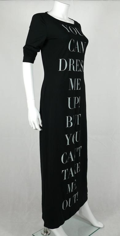 "Moschino Vintage Iconic ""You Can Dress Me Up..."" Bodycon Maxi Dress 3"