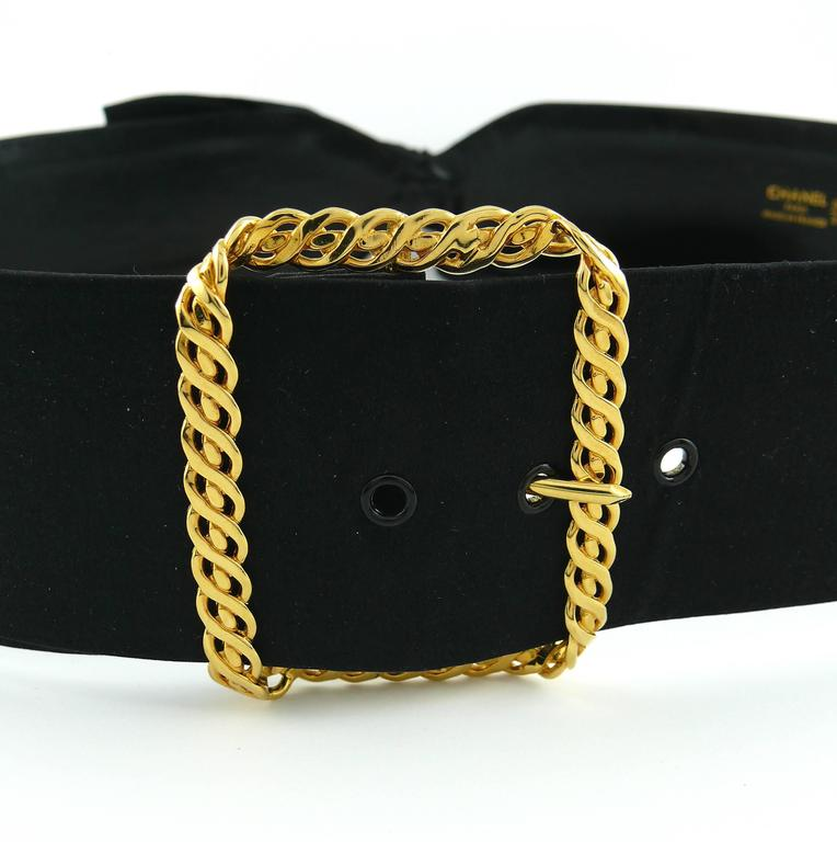 Chanel Black Silk Bow Belt and Chain 3