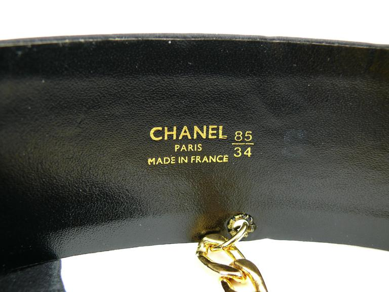 Chanel Black Silk Bow Belt and Chain For Sale 3