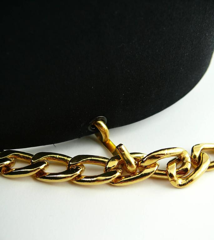 Chanel Black Silk Bow Belt and Chain For Sale 2