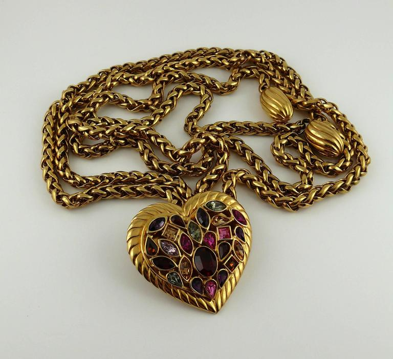 Yves Saint Laurent YSL Vintage Rare Jewelled Heart Chain Belt and Necklace 3