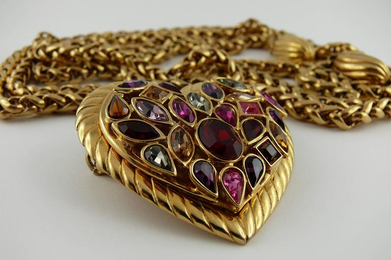 Yves Saint Laurent YSL Vintage Rare Jewelled Heart Chain Belt and Necklace 5