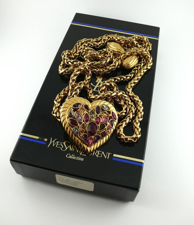 Yves Saint Laurent YSL Vintage Rare Jewelled Heart Chain Belt and Necklace 7