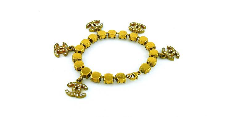 Chanel Vintage CC Charm Jewelled Bracelet 5