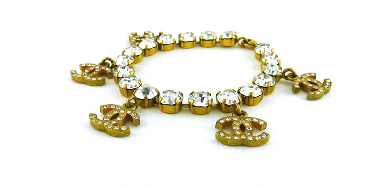Chanel Vintage CC Charm Jewelled Bracelet In Excellent Condition For Sale In French Riviera, Cote d'Azur