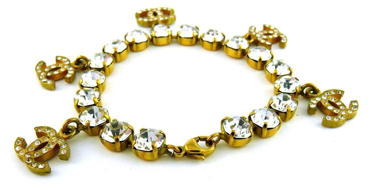 Chanel Vintage CC Charm Jewelled Bracelet 4