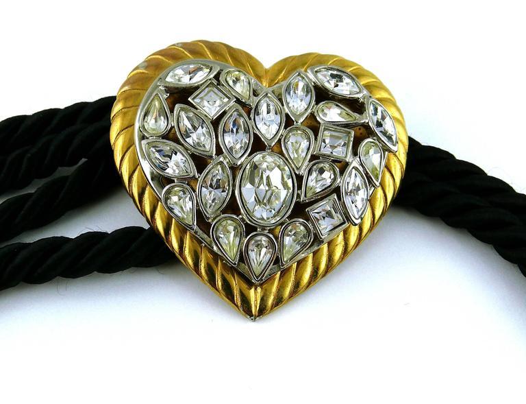 Black Yves Saint Laurent YSL Vintage Jewelled Heart Silk Cord Belt For Sale