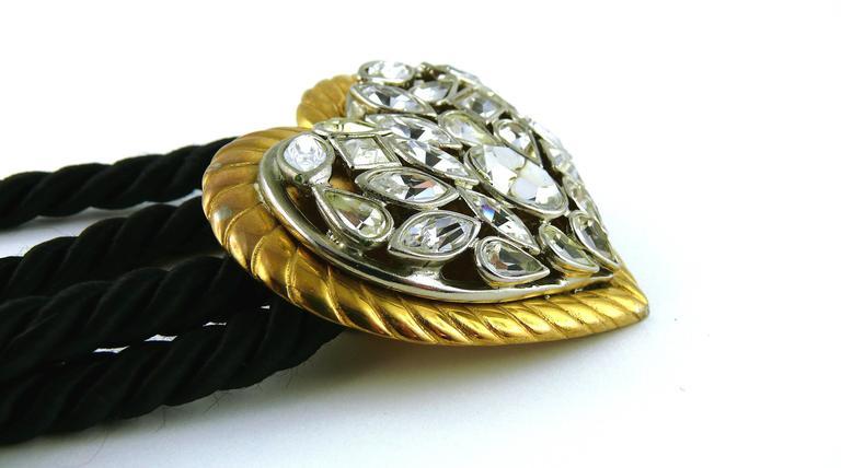 Women's Yves Saint Laurent YSL Vintage Jewelled Heart Silk Cord Belt For Sale