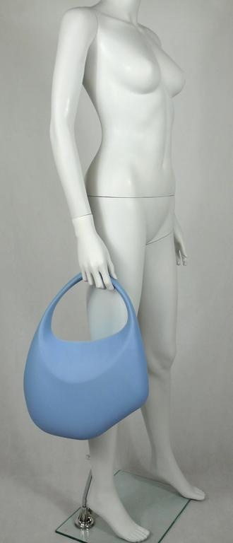 Thierry Mugler Vintage Iconic Bubble Rubber Handbag Rare Ice Blue Color 2