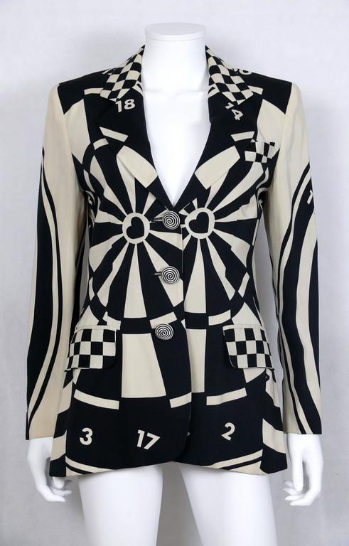 Black Moschino Vintage Monochrome Dartboard Print Blazer For Sale