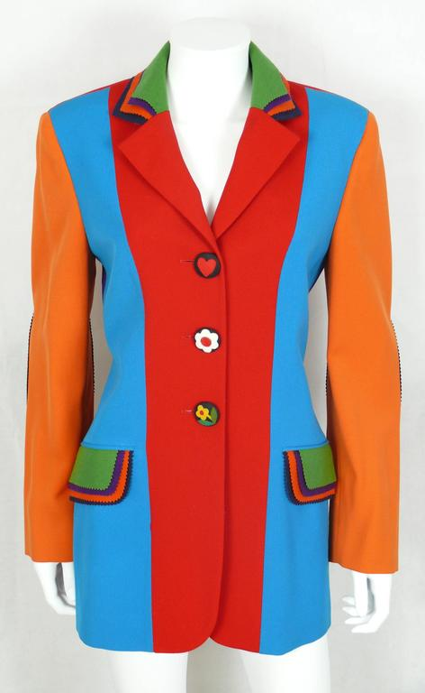 Moschino Vintage Color Blocked Wool Jacket 4