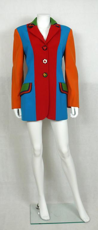 Red Moschino Vintage Color Blocked Wool Jacket For Sale