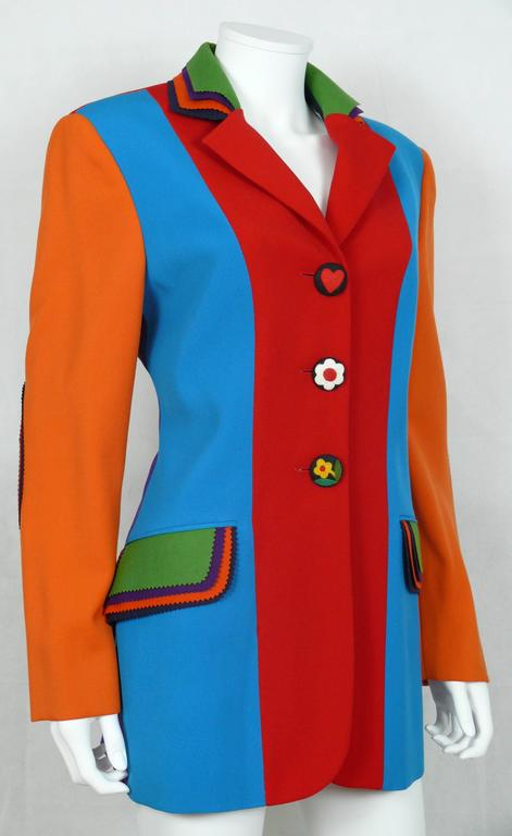 Moschino Vintage Color Blocked Wool Jacket 2