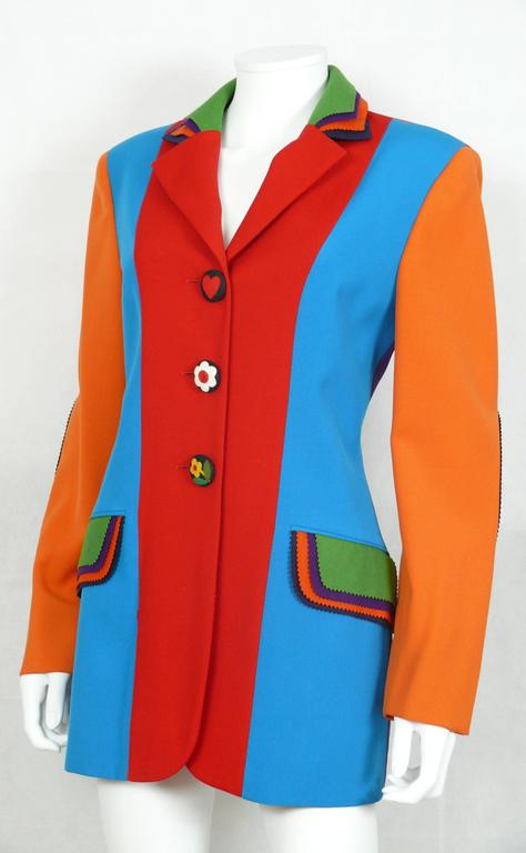 Moschino Vintage Color Blocked Wool Jacket 5