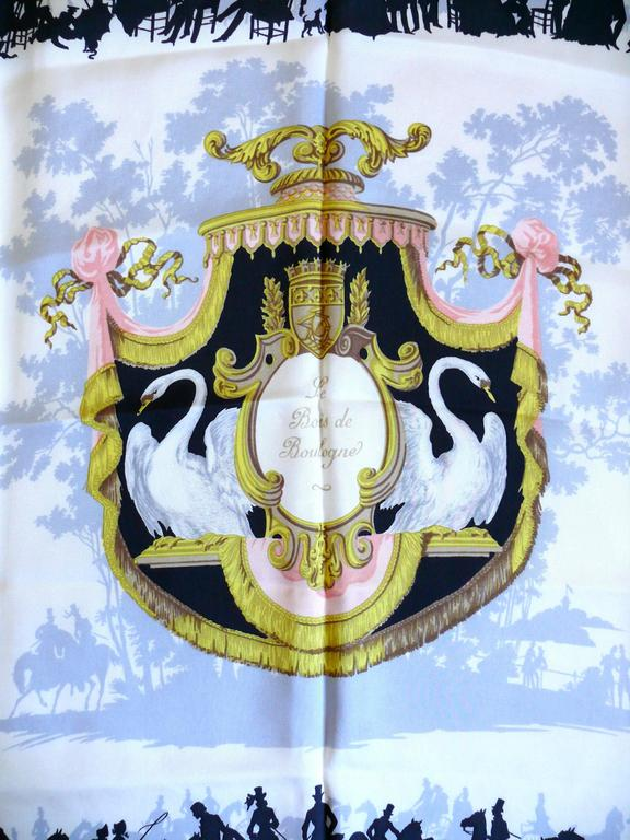 hermes 1957 rare le bois de boulogne silk twill carr scarf by hugo grygkar at 1stdibs. Black Bedroom Furniture Sets. Home Design Ideas
