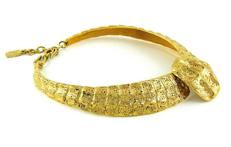 Yves Saint Laurent YSL Vintage Croc Gold Toned Choker Necklace 3