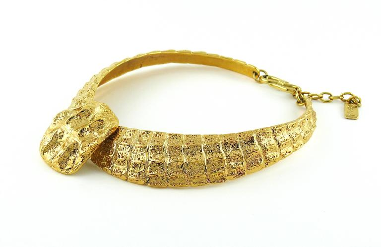 Yves Saint Laurent YSL Vintage Croc Gold Toned Choker Necklace 5