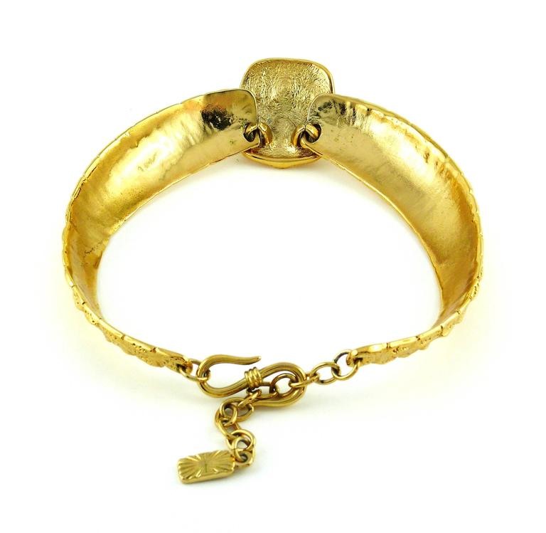 Yves Saint Laurent YSL Vintage Croc Gold Toned Choker Necklace For Sale 2