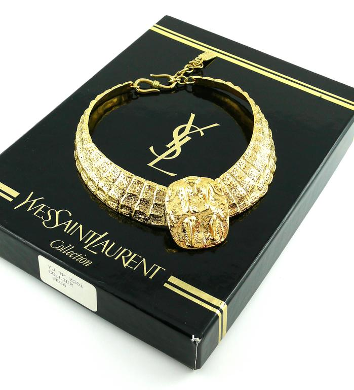Yves Saint Laurent YSL Vintage Croc Gold Toned Choker Necklace 4
