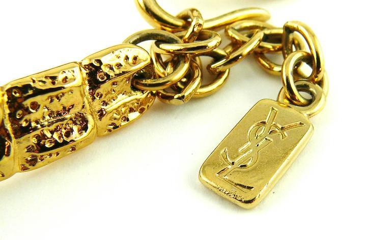 Yves Saint Laurent YSL Vintage Croc Gold Toned Choker Necklace For Sale 3