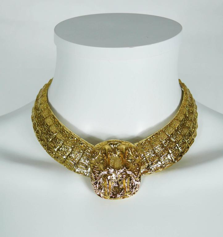 Yves Saint Laurent YSL Vintage Croc Gold Toned Choker Necklace 2