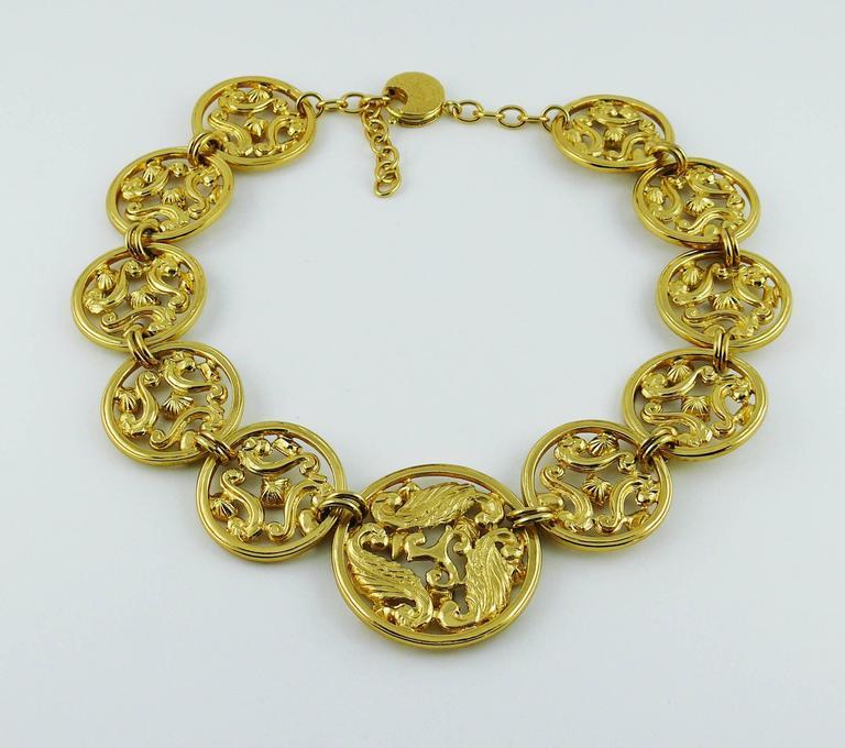 Yves Saint Laurent YSL Vintage Jewelled Openwork Scroll Medallion Necklace For Sale 1