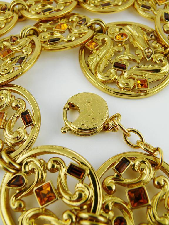 Yves Saint Laurent YSL Vintage Jewelled Openwork Scroll Medallion Necklace For Sale 2