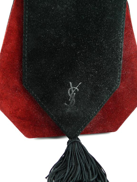 Black Yves Saint Laurent YSL Vintage Bicolor Suede Shoulder Purse For Sale