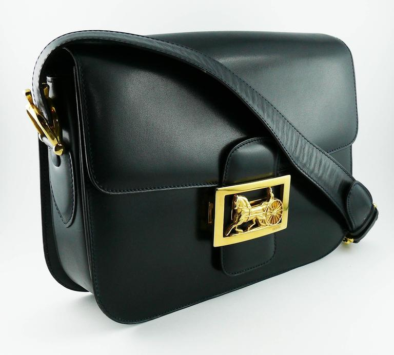 Celine Most Wanted Vintage Deep Navy Blue Box Calf Skin Leather Shoulder Bag Featuring The Iconic