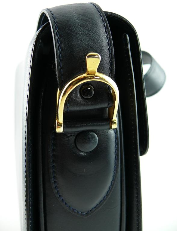 Celine Vintage Horse Carriage Buckle Navy Blue Box Leather Shoulder Bag 5