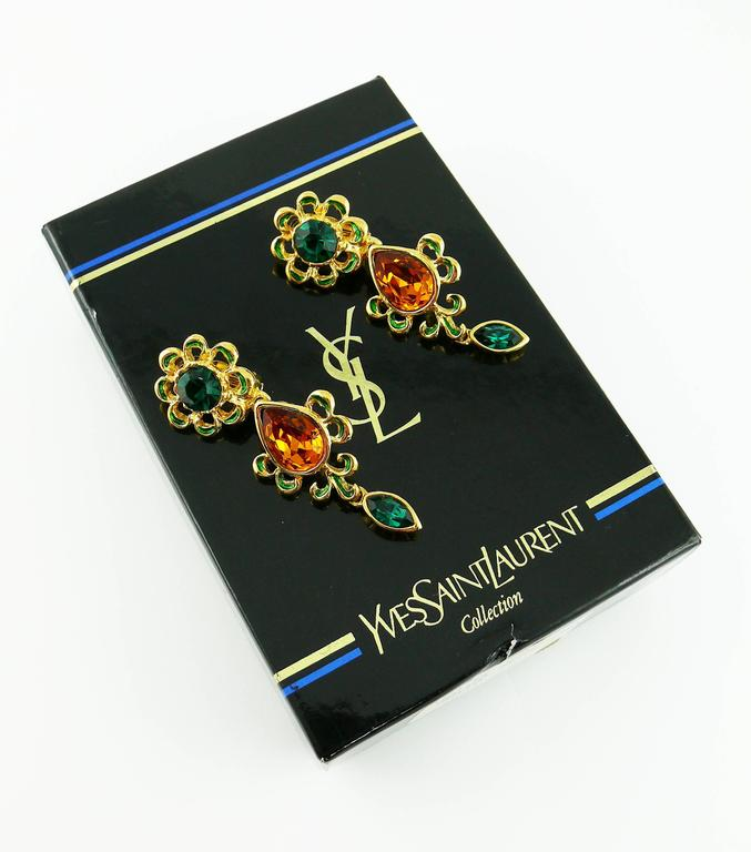 Yves Saint Laurent YSL Vintage Jewelled Dangling Earrings In Excellent Condition For Sale In French Riviera, Cote d'Azur