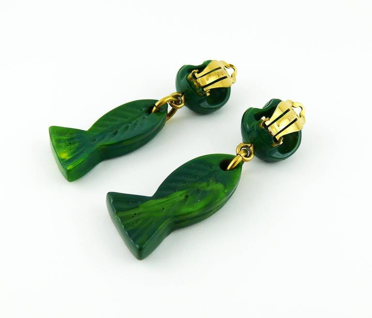 Yves Saint Laurent YSL Vintage Sea Life Dangling Earrings 4