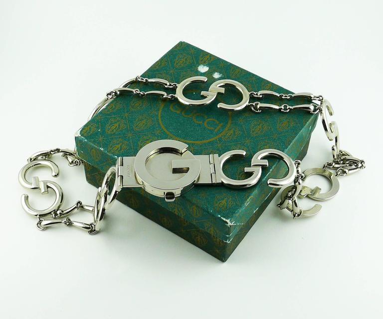 Gucci Vintage 1970s Silver Toned Iconic Signature Belt For Sale 2