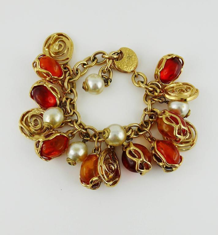 Women's Yves Saint Laurent YSL Vintage Charm Bracelet For Sale