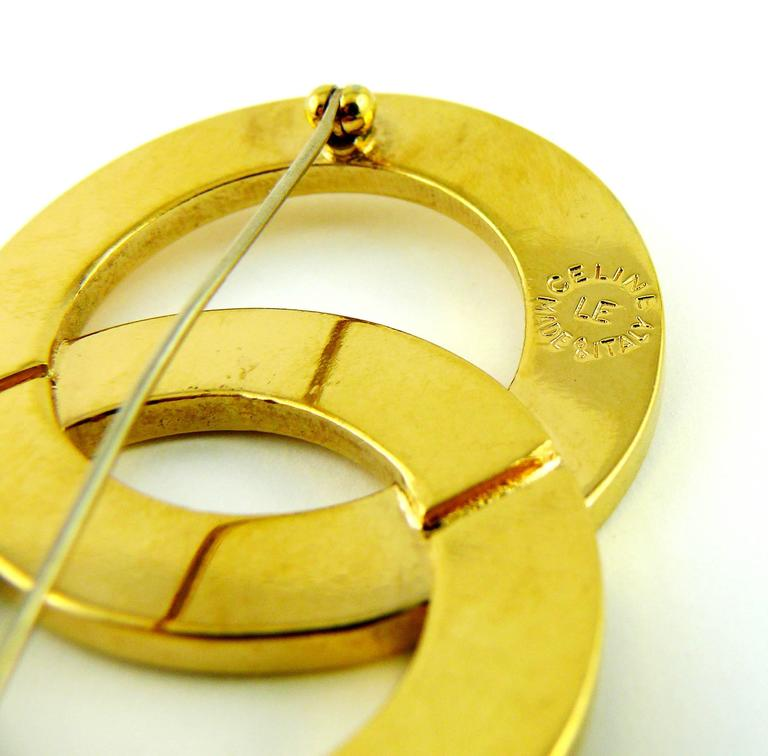 Celine Paris Vintage Gold Toned Double Ring Brooch For Sale 1